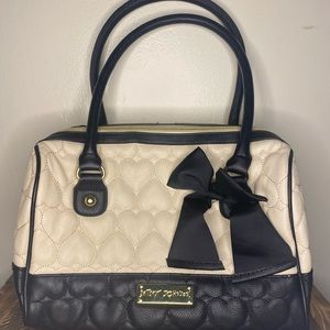 Betsey Johnson Quilted Two Tone Heart Purse